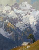 Избушка на склоне горы -пейзаж на холсте