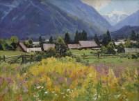 Летнее цветение.Архыз - горный пейзаж маслом