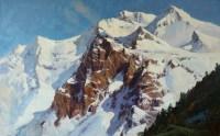 Вершины Махара -горный пейзаж маслом