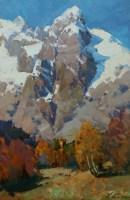 Нежность осени - горный пейзаж маслом