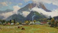 Облака над Архызом - горный пейзаж маслом