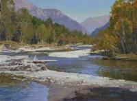 Осенняя вода - пейзаж маслом