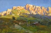 Скалы в утреннем свете -горный пейзаж, живопись