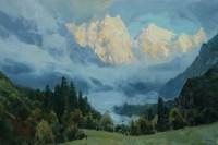 Туманное утро в горах - пейзаж маслом
