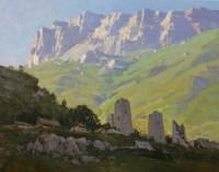 Башни на фоне скалистых гор - пейзаж маслом