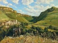 В окрестностях Медовых водопадов -горный пейзаж маслом