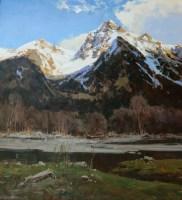 Весна в горах - пейзаж маслом