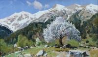 Весна.Цветущее дерево - горный пейзаж маслом