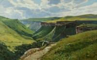 Вид на ущелье летом.- горный пейзаж на холсте