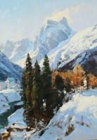 Домбай.Зимний день - горный пейзаж маслом