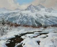 Зимний ручей - горный пейзаж