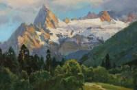 Ледник Джугут Турлчат - горный пейзаж маслом