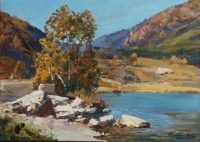На горном озере - картина художника на холсте