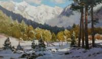Махар в снегу - горный пейзаж маслом на холсте