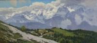 Вид на Гагринский хребет сквозь облака - горный пейзаж