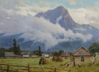 Гора и облако - пейзаж художника маслом