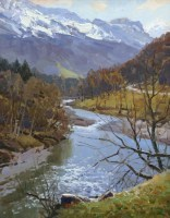 На Кавказе - горный пейзаж на холсте