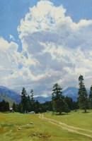 Облака над Таулу -горный пейзаж маслом