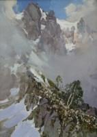 Облака над горами - пейзаж маслом