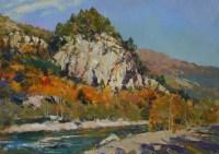 Осеннее настроение -горный пейзаж на холсте