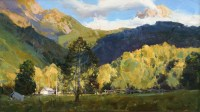 Осенние лучи - горный пейзаж художника