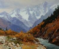 Осенний Гоначхир - горный пейзаж маслом