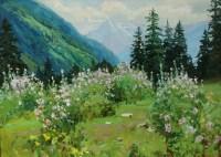 Цветение мальвы в горах- картина пейзаж