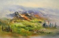 В предгорьях Кавказа - горный пейзаж маслом в стиле абстракции