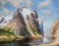 В горах Норвегии - пейзаж маслом