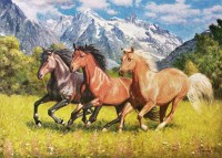 Лошади в горах - анималистика маслом художника Разживина