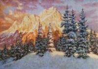 Картина художника Закат в горах