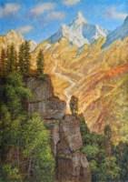 Картина маслом Горное ущелье