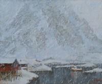 Снегопад в Норвегии - картина художника Панова