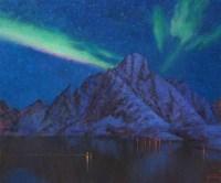 Cеверное сияние над Лофотенами - пейзаж художника Панова