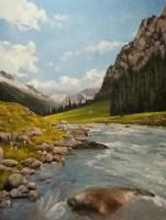 В горах - картина маслом на холсте