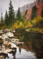 Приближение осени - горный пейзаж маслом