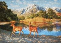 Картина кони в горах